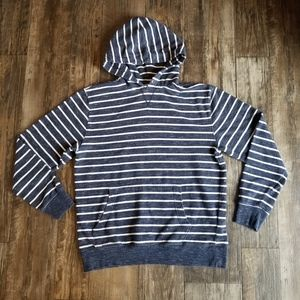 Old Navy White and Navy Striped Hoodie